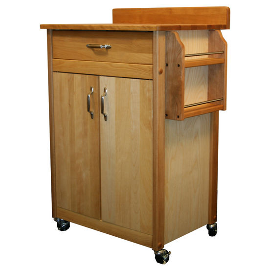 Butcher Block Cart With Flat Doors. & Backsplash - Pot Racks Plus