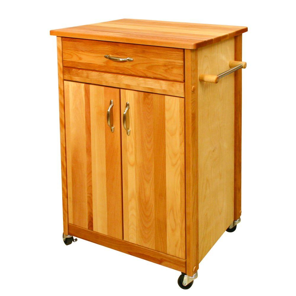 Butcher Block Cart With Flat Doors - Pot Racks Plus