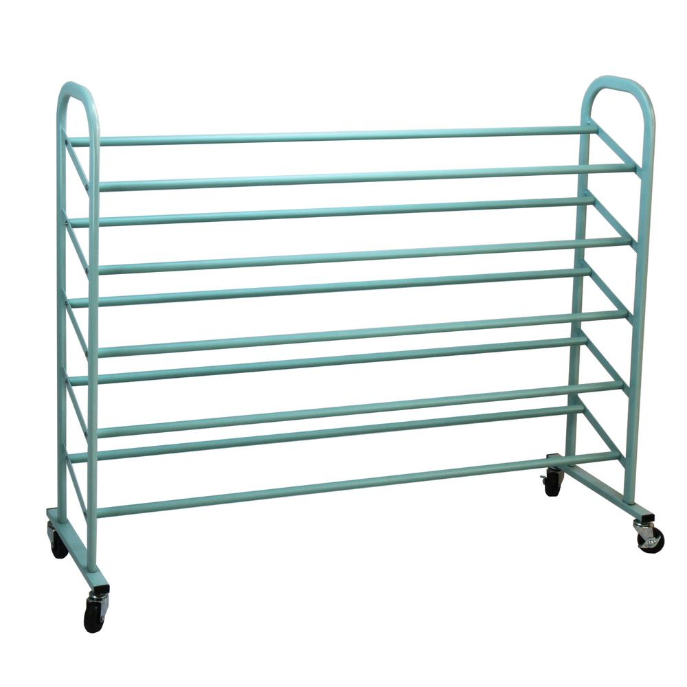 5-Tier Metal Shoe Rack, Turquoise - Pot Racks Plus