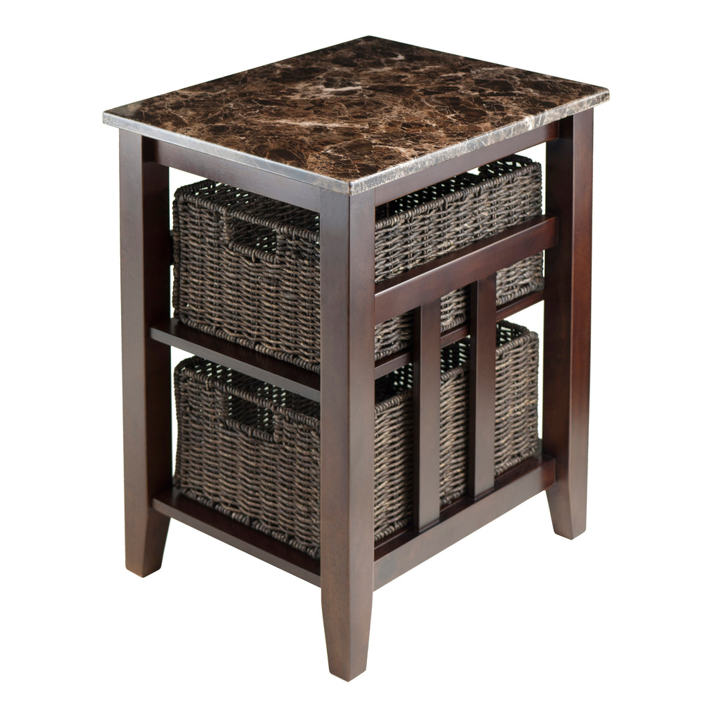 Zoey Side Table Faux Marble Top With 2 Baskets - Pot Racks Plus