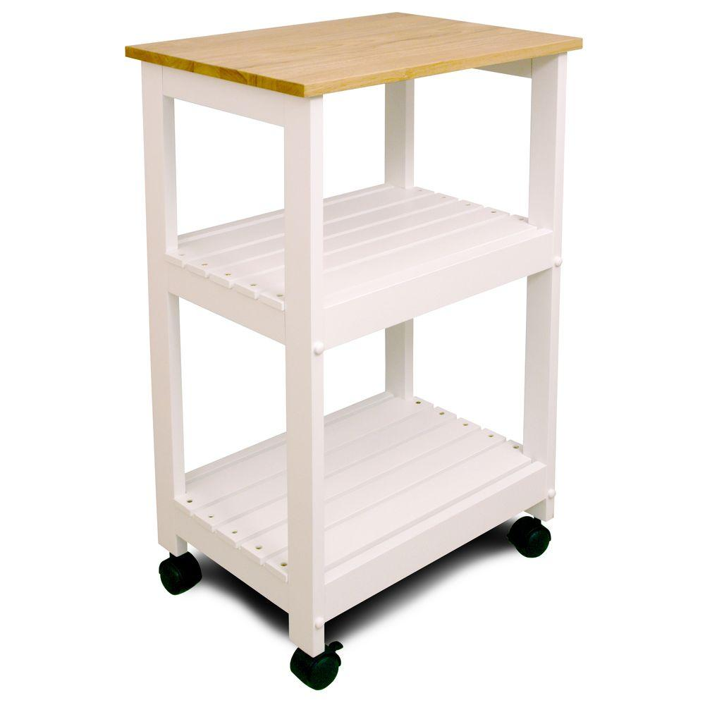 Utility Kitchen Cart, White Base Natural Top - Pot Racks Plus