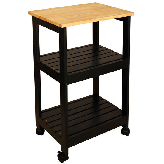 Utility Kitchen Cart, Black Base Natural Top - Pot Racks Plus