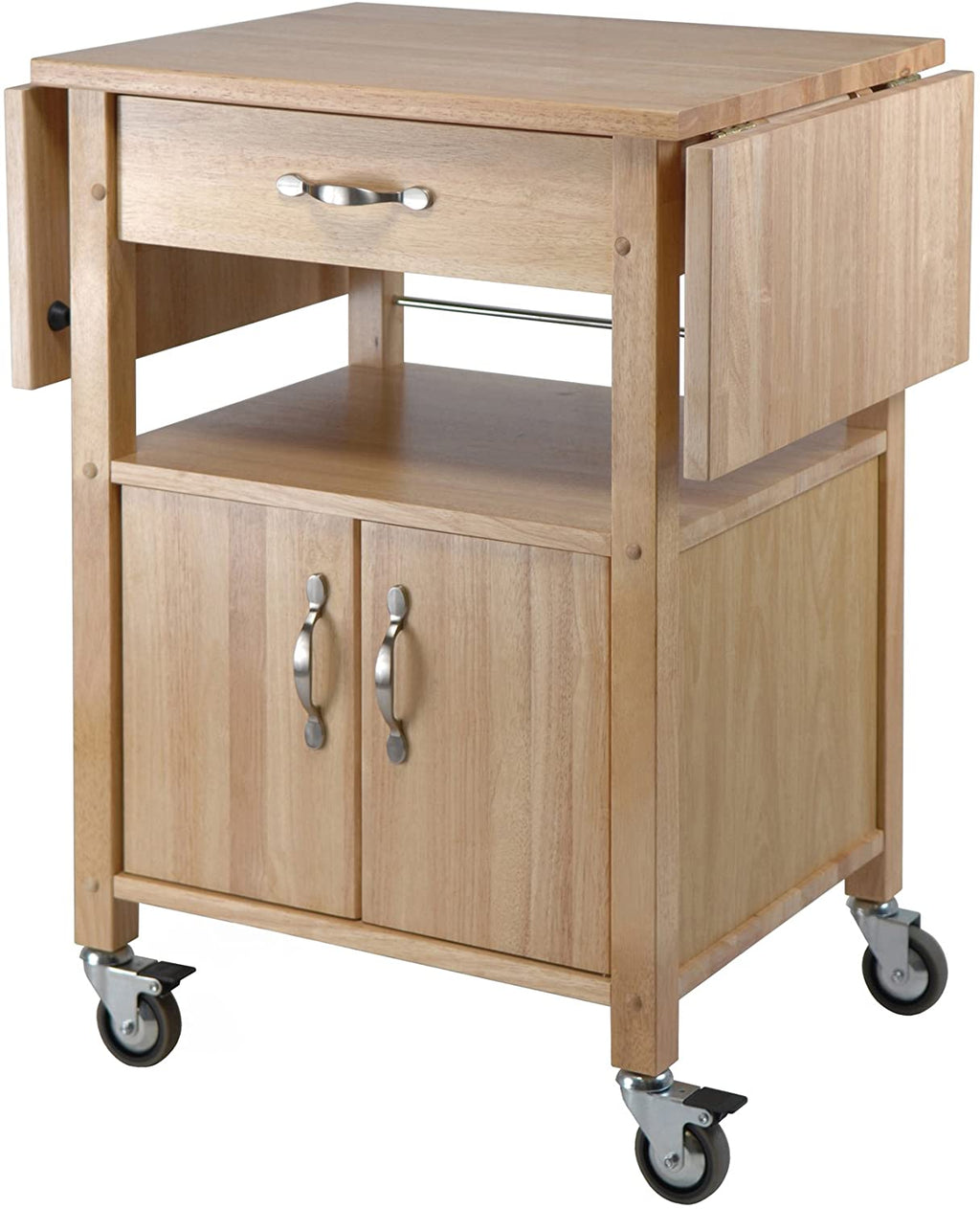 Kitchen Cart, Double Drop Leaf, Cabinet With Shelf - Pot Racks Plus
