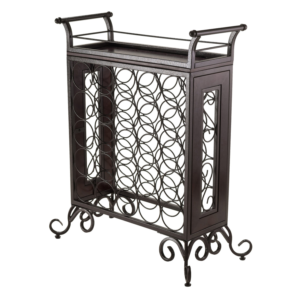 Silvano Wine Rack 5x5 With Removable Tray, Dark Bronze - Pot Racks Plus