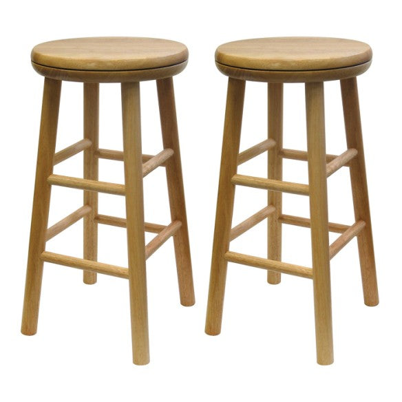 "Swivel 24"" Stool, Assembled, Set of 2 - Pot Racks Plus"