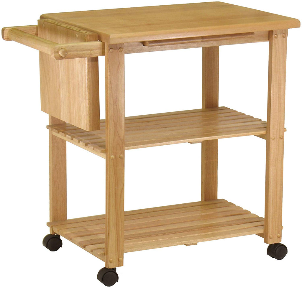 Kitchen Cart With Cutting Board, Knife Block And Shelves - Pot Racks Plus
