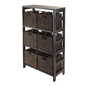 Granville 7-Piece Storage Shelf With 6 Foldable Baskets, Espresso - Pot Racks Plus