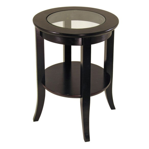 Genoa End Table, Glass Inset, One Shelf - Pot Racks Plus