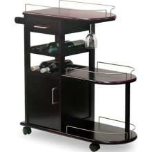 Entertainment Cart, Glass Rack, Cabinet, Drawer - Pot Racks Plus