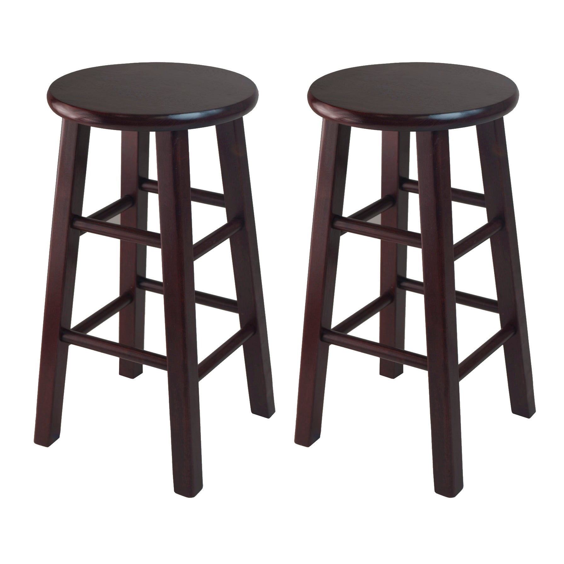 "Pacey 2-Pc 24"" Bar Stool Set Espresso - Pot Racks Plus"