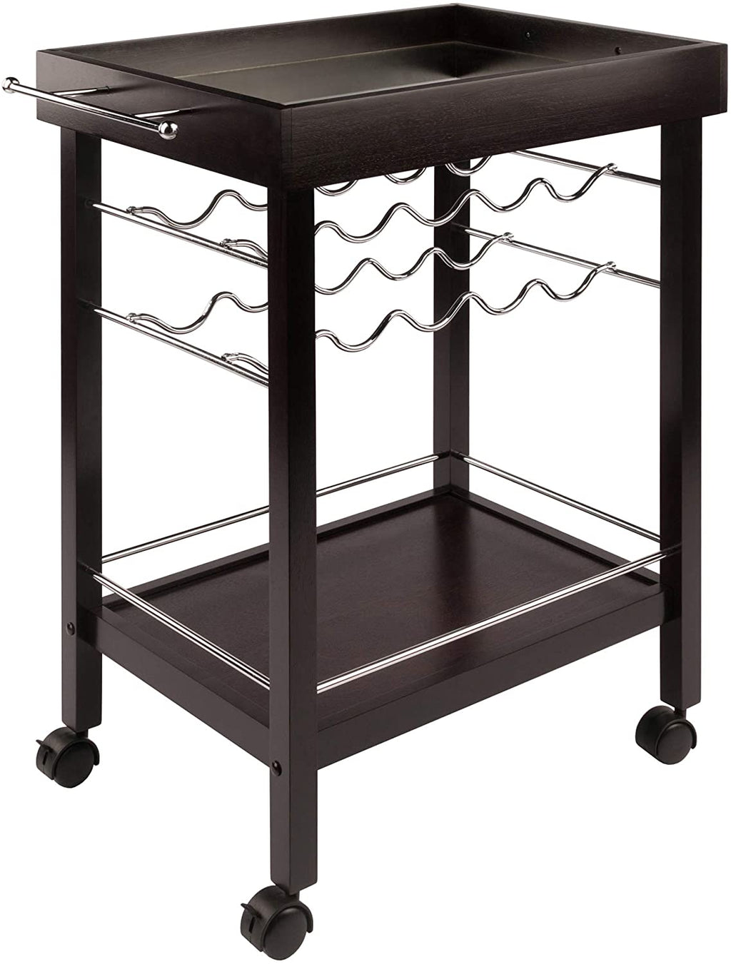 Bar Cart, Mirror Top, Wine Rack - Pot Racks Plus