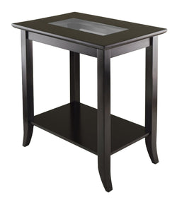 Genoa Rectangular End Table With Glass Top And Shelf - Pot Racks Plus