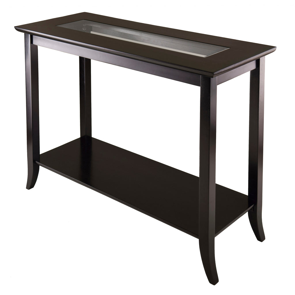 Genoa Rectangular Console Table With Glass And Shelf - Pot Racks Plus