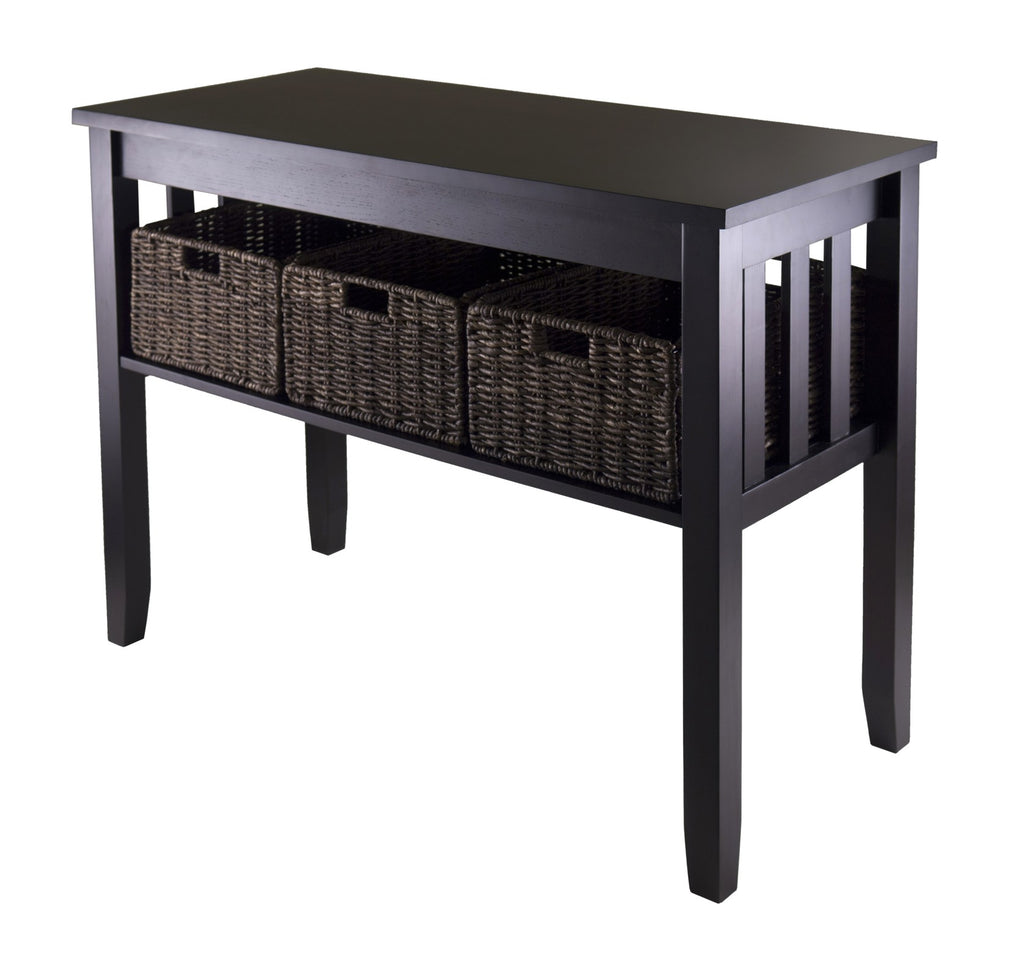 Morris Console Hall Table With 3 Foldable Baskets - Pot Racks Plus