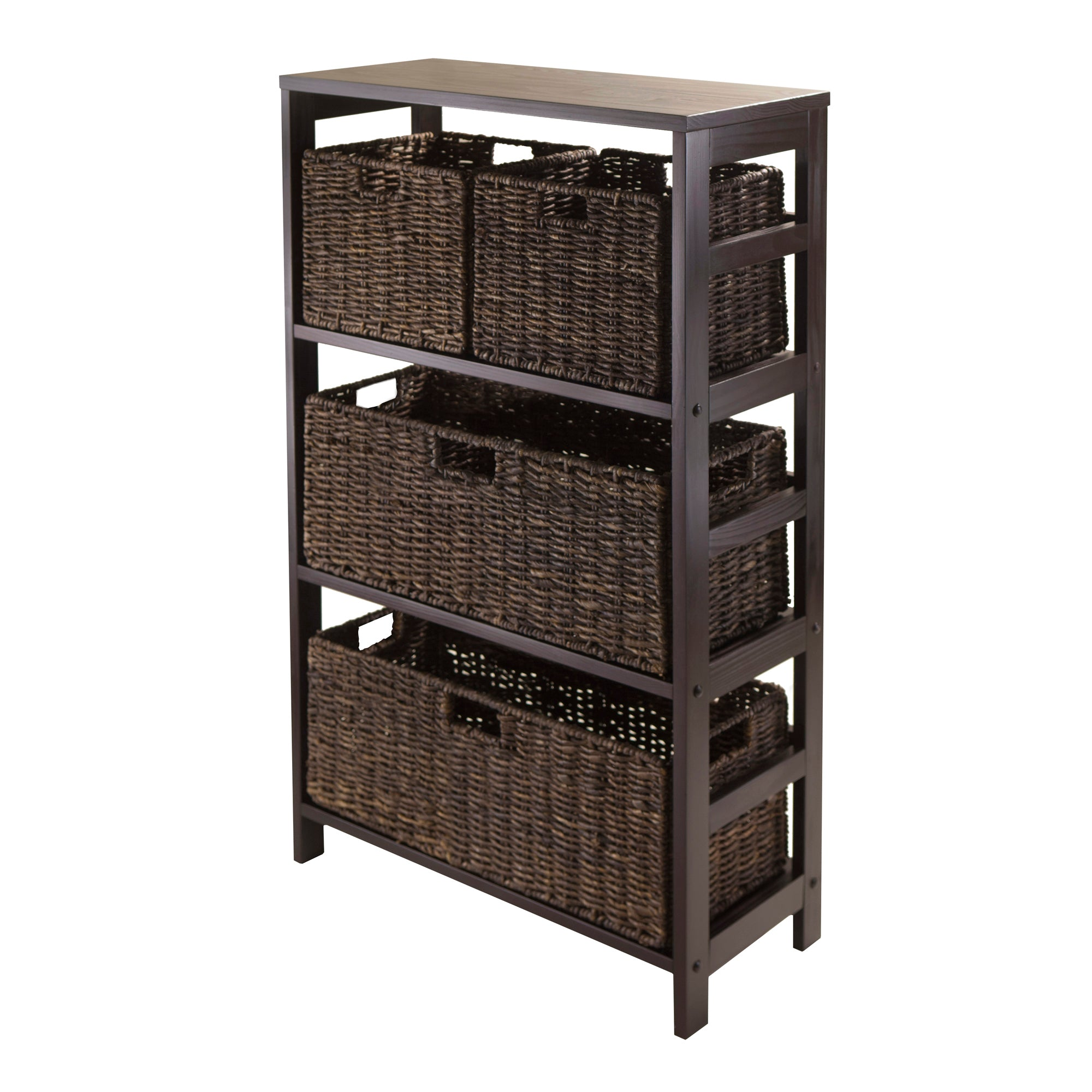 Granville 5-Piece Storage Shelf With 2 Large And 2 Small Foldable Baskets - Pot Racks Plus