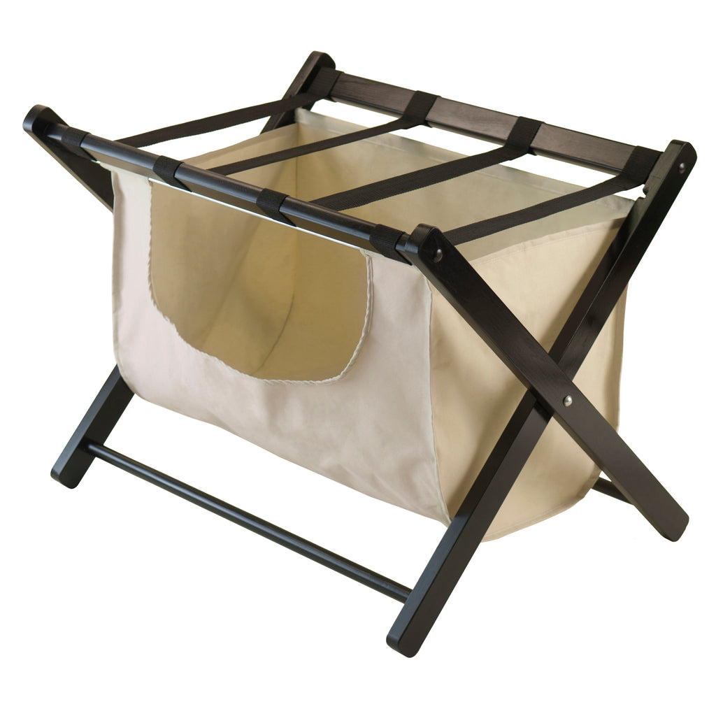 Dora Luggage Rack With Removable Fabric Basket - Pot Racks Plus