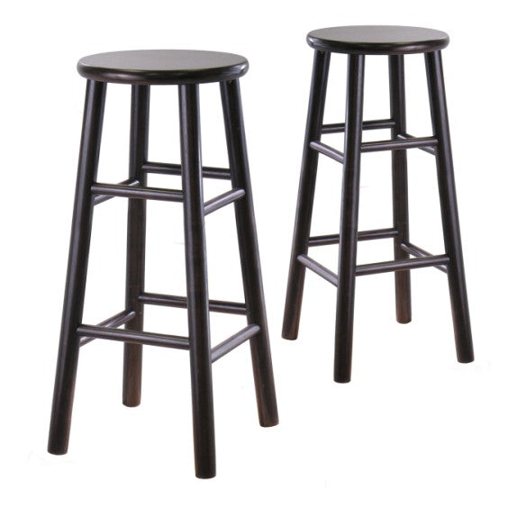 "Tabby 2-Pc 30"" Bar Stool Set Dark Espresso - Pot Racks Plus"
