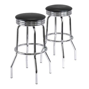 Summit Swivel Stools With Faux Leather, Set of 2 - Pot Racks Plus