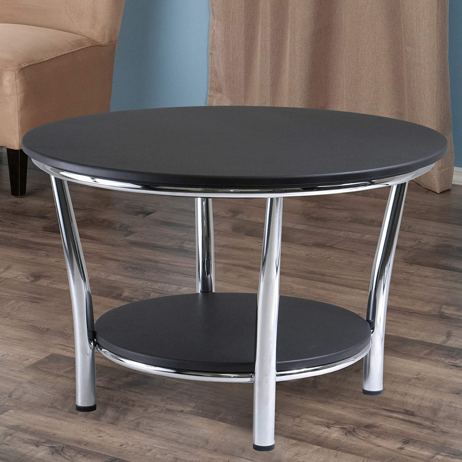 Maya Round Coffee Table, Black Top, Metal Legs - Pot Racks Plus