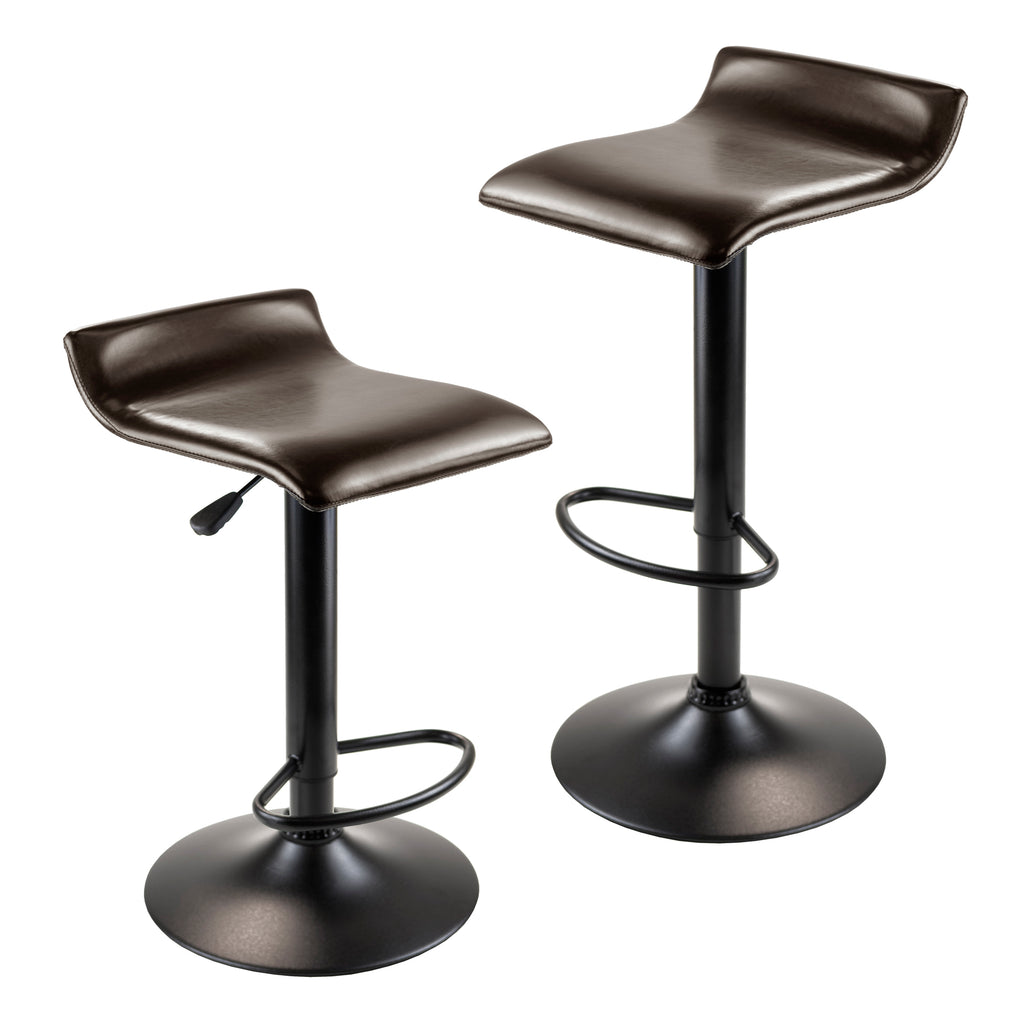 Airlift Adjustable Swivel Stool With Pu Leather Seat, Black Metal Base, Set of 2 - Pot Racks Plus
