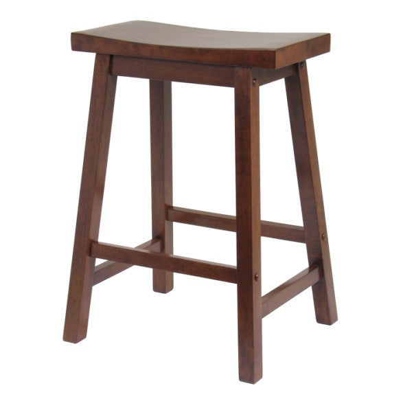 "Saddle Seat Stool, Antique Walnut, 24"" - Pot Racks Plus"