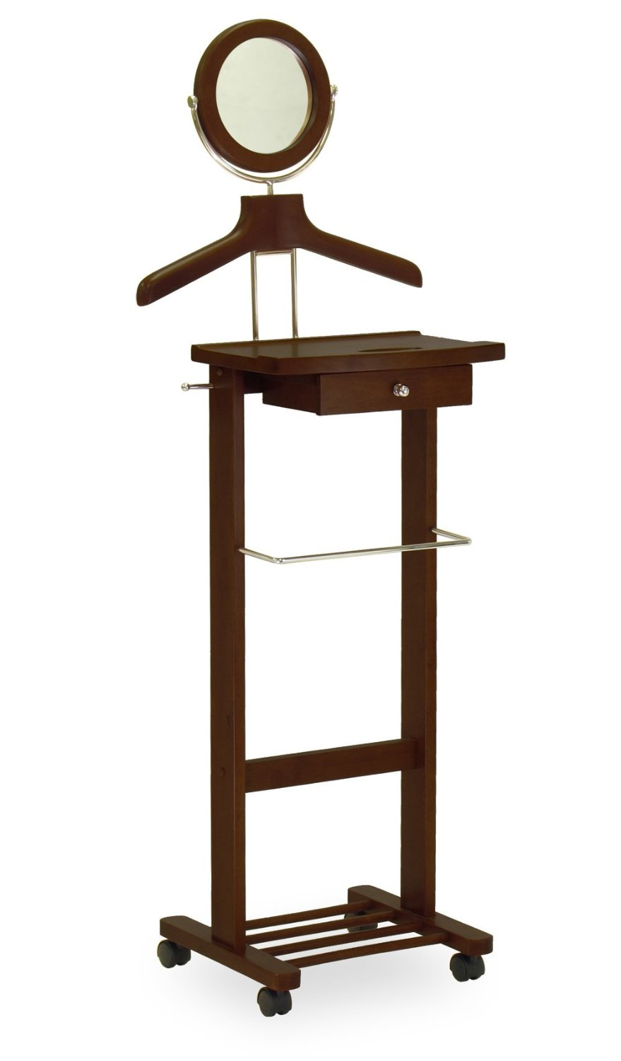 Valet Stand With Mirror, Drawer, Tie Hook, Casters - Pot Racks Plus