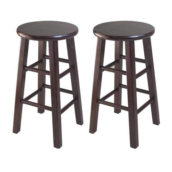 "Square Leg, 24"" Counter Stool, Set of 2 - Pot Racks Plus"