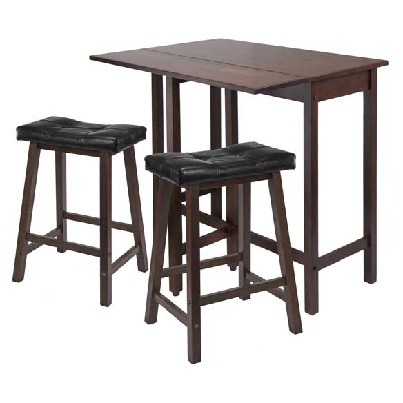 3-Piece Lynnwood Drop Leaf Kitchen Table With 2 Cushion Saddle Seat Stools - Pot Racks Plus