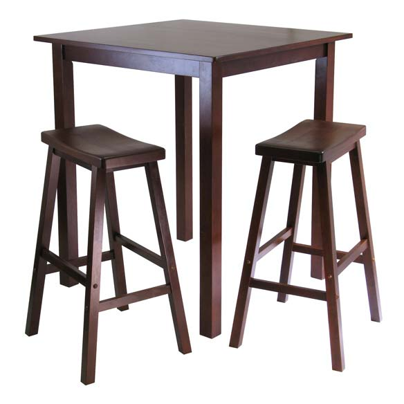 Parkland 3-Piece Square High/Pub Table Set With 2 Saddle Seat Stools - Pot Racks Plus