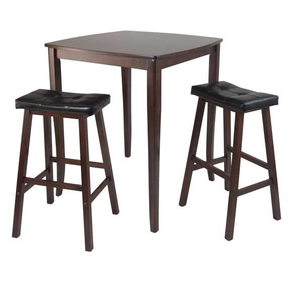 3-Piece Inglewood High/Pub Dining Table With Cushioned Saddle Stool - Pot Racks Plus