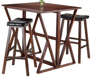 "Harrington 3-Piece Drop Leaf High Table, 2 -29"" Cushion Saddle Seat Stools - Pot Racks Plus"