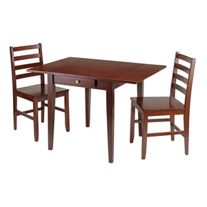 Hamilton 3-Piece Drop Leaf Dining Table With 2 Ladder Back Chairs - Pot Racks Plus