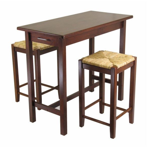 3-Piece Kitchen Island Table With 2 Rush Seat Stools; 2 Cartons - Pot Racks Plus