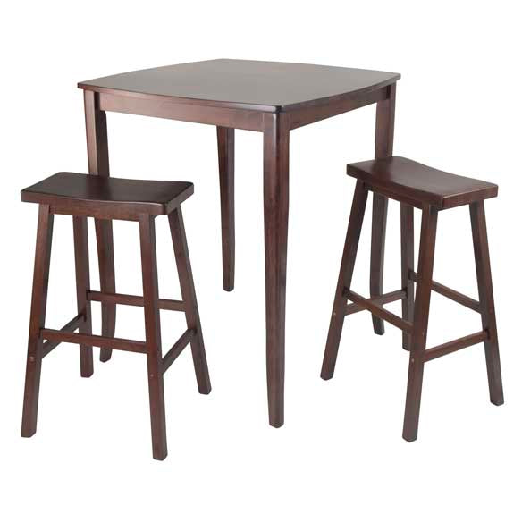 3-Piece Inglewood High/Pub Dining Table With Saddle Stool - Pot Racks Plus