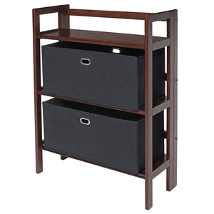 3-Piece Torino Set Folding Bookcase With Fabric Basket - Pot Racks Plus