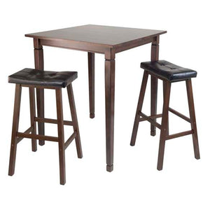 3-Piece Kingsgate High/Pub Dining Table With Cushioned Saddle Stool - Pot Racks Plus