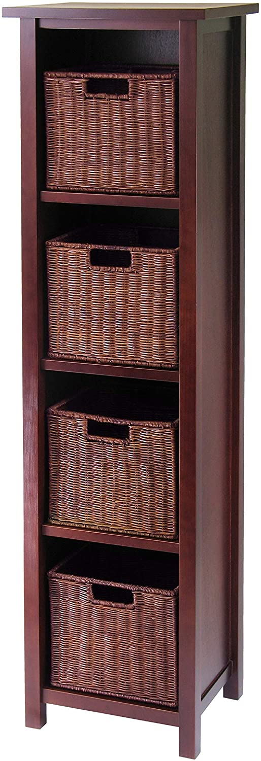 Milan 5-Piece Storage Shelf With Baskets; Cabinet And 4 Small Baskets; 3 Cartons - Pot Racks Plus