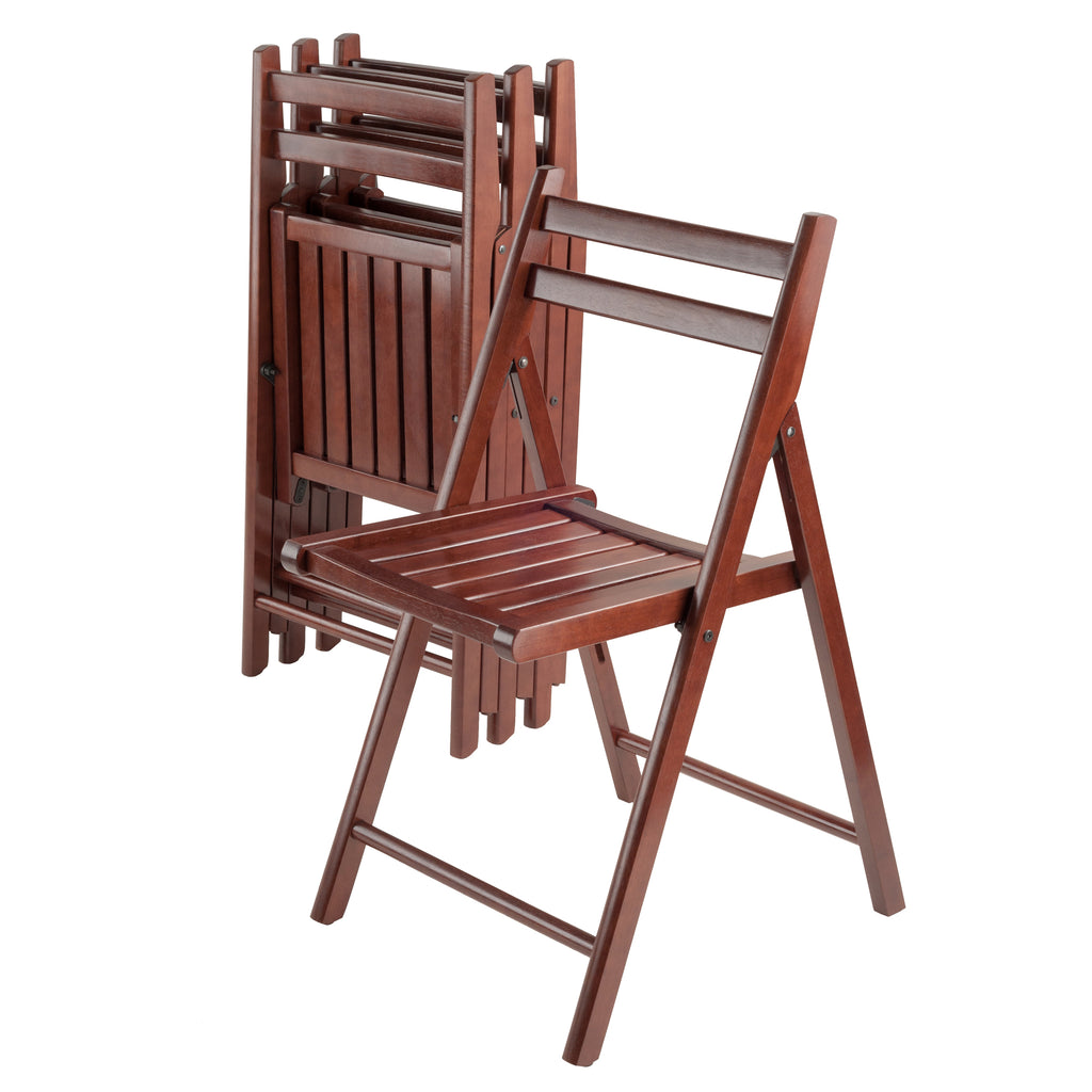 Robin 4-PC Folding Chair Set Walnut - Pot Racks Plus
