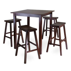 Parkland 5Piece Square High/Pub Table Set With 4 Saddle Seat Stools - Pot Racks Plus