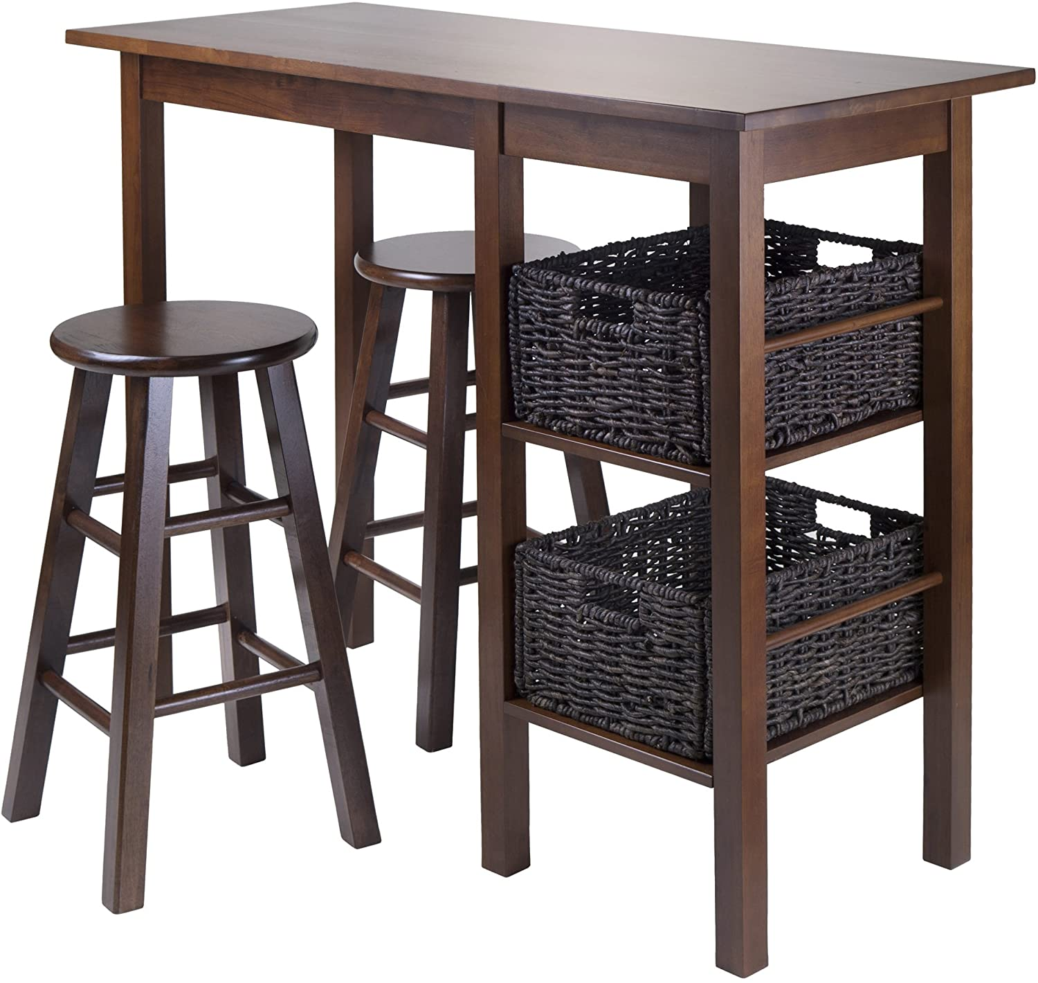 "Egan 5Piece Table With 2, 24"" Square Legs Stools And 2 Baskets - Pot Racks Plus"