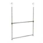 2-Tier Portable Adjustable Closet Hanger Rod, Chrome - Pot Racks Plus