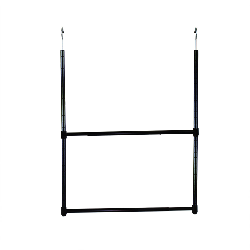 2-Tier Portable Adjustable Closet Hanger Rod, Black - Pot Racks Plus