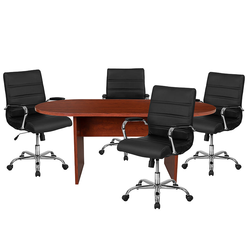 Flash Furniture 5 Piece Cherry Oval Conference Table Set with 4 Black and Chrome LeatherSoft Executive Chairs - Pot Racks Plus