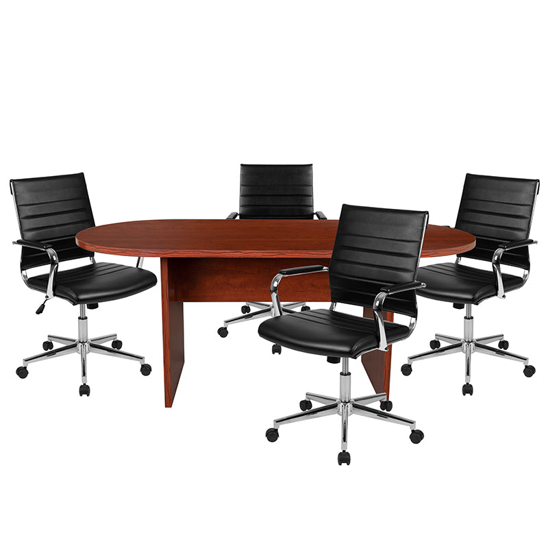 Flash Furniture 5 Piece Cherry Oval Conference Table Set with 4 Black LeatherSoft Ribbed Executive Chairs - Pot Racks Plus