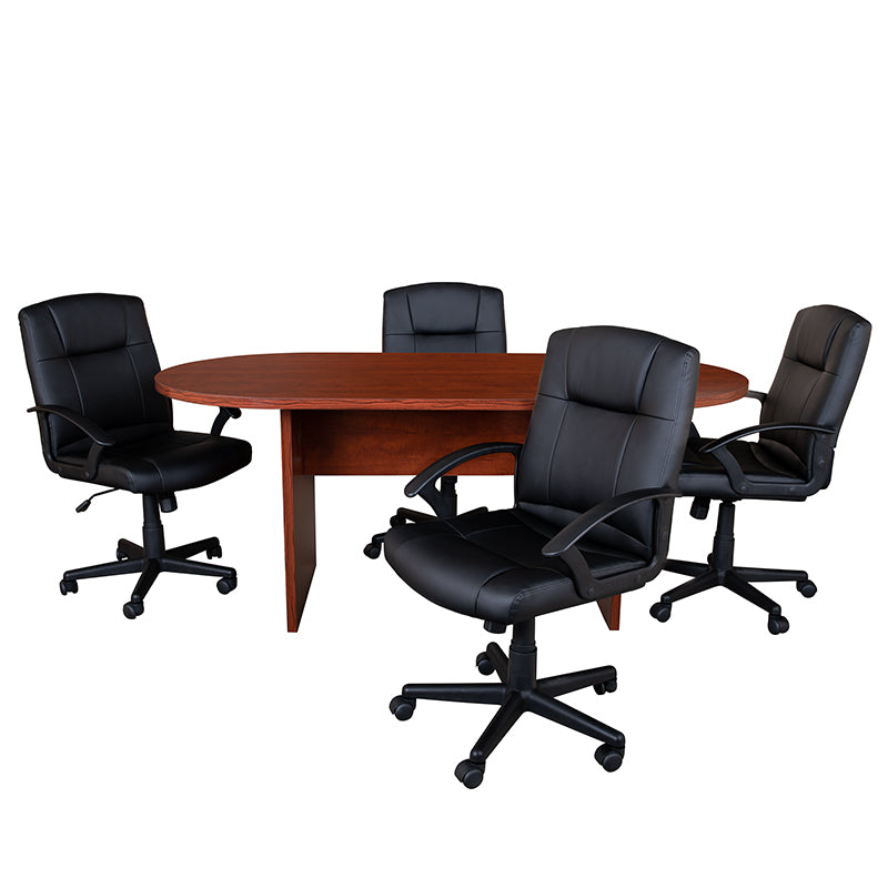 Flash Furniture 5 Piece Cherry Oval Conference Table Set with 4 Black LeatherSoft-Padded Task Chairs - Pot Racks Plus