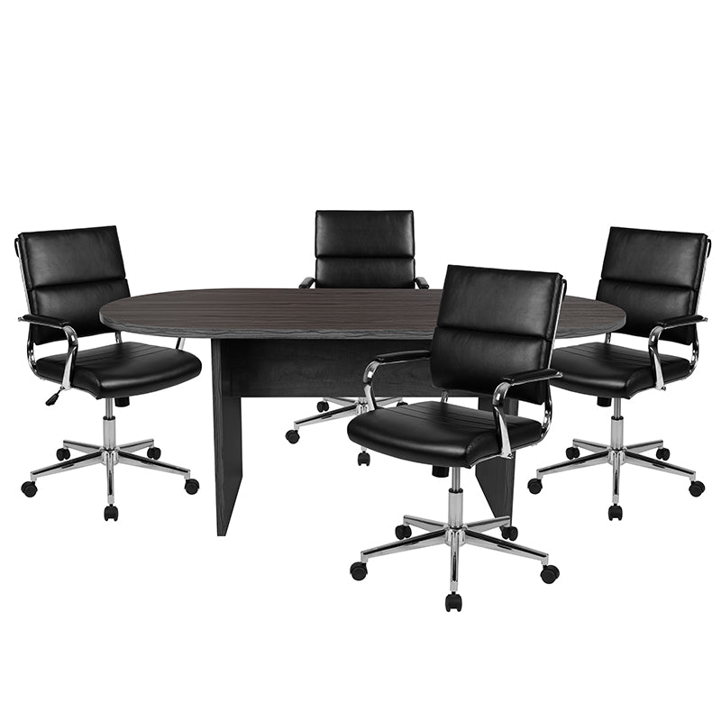 Flash Furniture 5 Piece Rustic Gray Oval Conference Table Set with 4 Black LeatherSoft Panel Back Executive Chairs - Pot Racks Plus