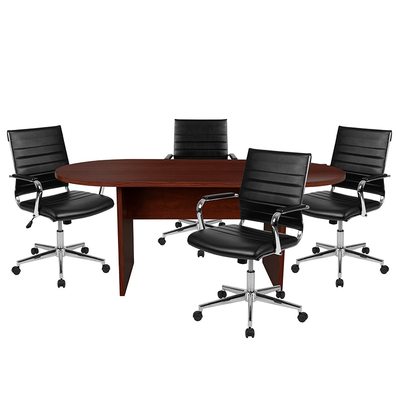 Flash Furniture 5 Piece Mahogany Oval Conference Table Set with 4 Black LeatherSoft Ribbed Executive Chairs - Pot Racks Plus