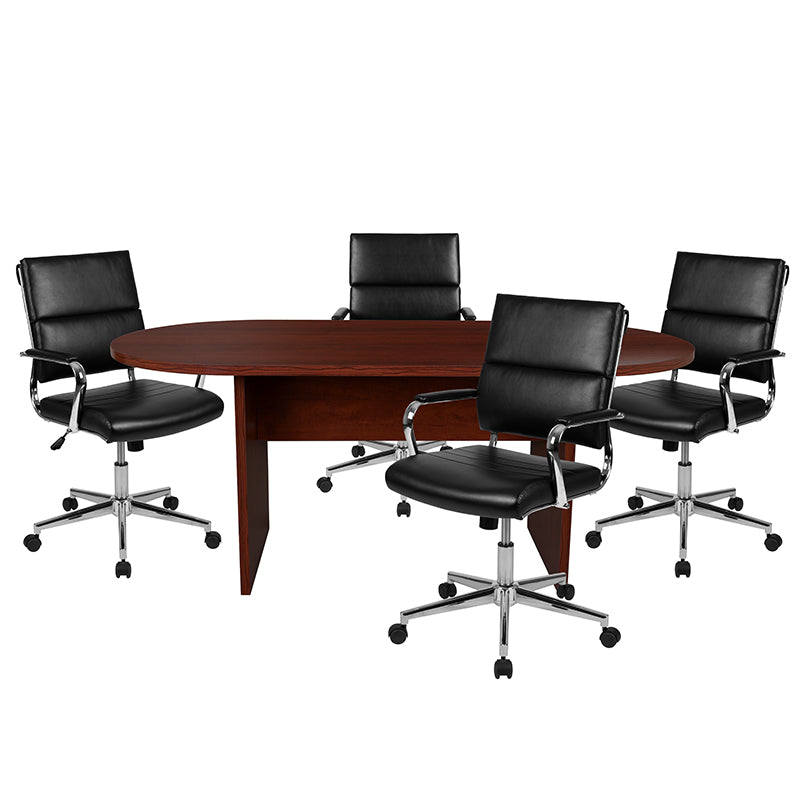 Flash Furniture 5 Piece Mahogany Oval Conference Table Set with 4 Black LeatherSoft Panel Back Executive Chairs - Pot Racks Plus
