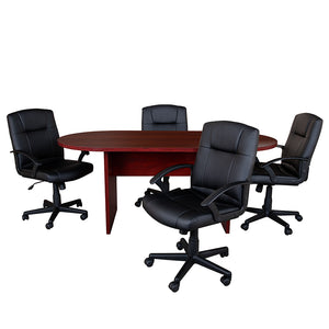 Flash Furniture 5 Piece Mahogany Oval Conference Table Set with 4 Black LeatherSoft-Padded Task Chairs - Pot Racks Plus
