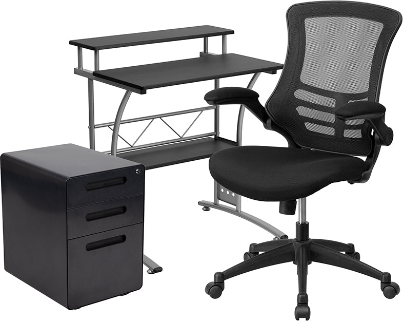 Flash Furniture   3 Piece Office Set - Black Computer Desk, Office Chair & Mobile Filing Cabinet - Pot Racks Plus
